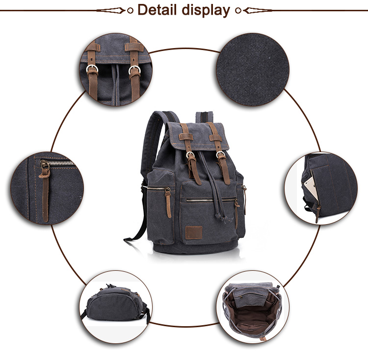 Durable old fashion neutral retro washed canvas custom backpack school leather backpack